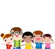 Grupp av barn som har gyckel Arkivfoto