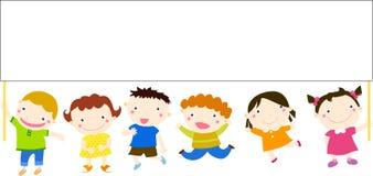 Grupp av barn som har gyckel stock illustrationer