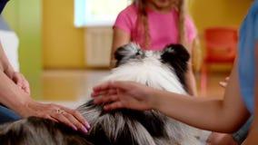 Grupp av barn som har gyckel med servicehunden arkivfilmer