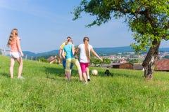 Grupp av barn som spelar fotboll på äng i sommar Arkivbild