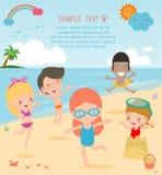 Grupp av barnlek på stranden, lyckliga ungar på stranden, barn som har gyckel på den härliga stranden stock illustrationer