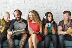 Grupp av begreppet för ferie för Hipstervänlivsstil royaltyfri bild