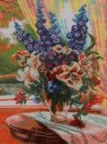 Grupp av blommor på en tabell Fotografering för Bildbyråer