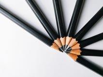 Grupp av blyertspennor på vit bakgrund royaltyfri bild