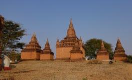 Grupp av buddistiska tempel i Bagan, Myanmar Arkivfoton