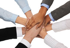 Grupp av businesspeople som firar seger Royaltyfria Bilder