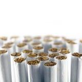 Grupp av cigaretter mot en vit bakgrund, makroskott Royaltyfri Fotografi
