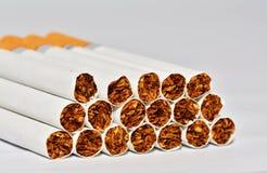 Grupp av cigarretes med vit bakgrund Arkivbild