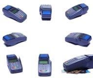 Grupp av Colllage, sikt för många vinklar av kreditkortmaskinen Devic Royaltyfri Foto