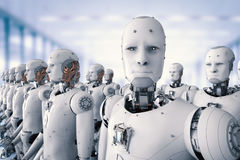 Grupp av cyborgs i fabrik stock illustrationer