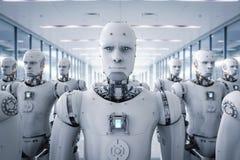 Grupp av cyborgs i fabrik royaltyfri illustrationer