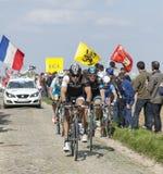 Grupp av cyklister Paris Roubaix 2014 Fotografering för Bildbyråer