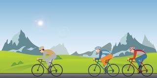 Grupp av cyklistmannen i vägcykel som springer längs på en solig vårdag i ferien vektor illustrationer