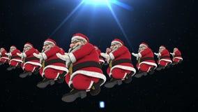 Grupp av dans 14 för jultomtenhöftflygtur stock video