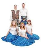 Grupp av dansare av den skotska dansen Arkivfoto