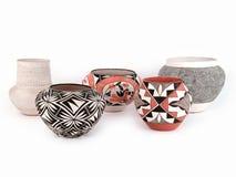Grupp av den antika indianpuebloen Clay Pottery Royaltyfria Bilder
