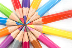 Grupp av den färgrika blyertspennan Team Teamwork Concept Royaltyfria Foton
