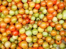 Grupp av den flerfärgade körsbärsröda tomaten Arkivfoton