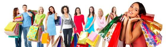 Grupp av den härliga shoppingkvinnan. royaltyfri foto