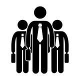 Grupp av den hållande resväskasymbolen för affärsman Svartvita konturer stock illustrationer