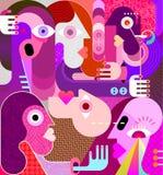 Grupp av den konstiga folkvektorillustrationen vektor illustrationer