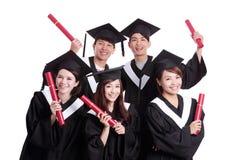 Grupp av den lyckliga kandidatstudenten Arkivbilder