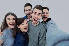 Grupp av den lyckliga unga tonåringen royaltyfri foto