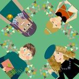 Grupp av det lyckliga teckenet för ungdomarlivsstil Arkivbild