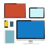 Grupp av Digital apparater med färgrika skärmar Arkivfoton