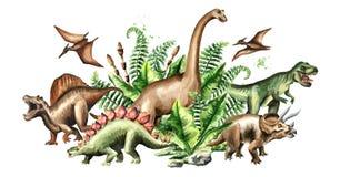 Grupp av dinosaurier med förhistoriska växter Dragen illustration för vattenfärg som hand isoleras på vit bakgrund stock illustrationer