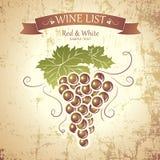 Grupp av druvor för etiketter av vin Arkivbild