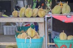 Grupp av durians på försäljning Royaltyfria Bilder