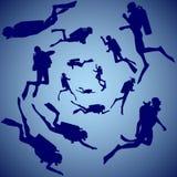 Grupp av dykare Arkivfoton