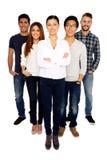 Grupp av ett ungt lyckligt folk arkivbild