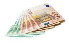 Grupp av Eurosedlar Arkivfoto