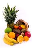 Grupp av exotiska frukter på en vit bakgrund Fotografering för Bildbyråer