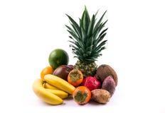 Grupp av exotiska frukter på en vit bakgrund Royaltyfri Fotografi