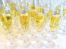 Grupp av exponeringsglas med champagne Arkivbild