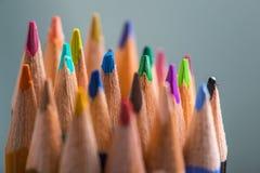 Grupp av färgblyertspennor i en ställning Royaltyfria Bilder