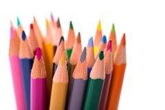 Grupp av färgblyertspennor på vit Royaltyfria Bilder