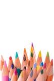 Grupp av färgblyertspennor på vit Royaltyfri Bild