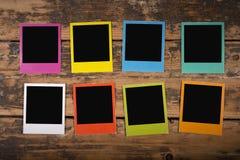 Grupp av färgpolaroidramar royaltyfri fotografi