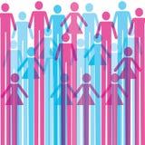 Grupp av färgrik manlig och kvinnlig symbolsbakgrund Arkivfoton