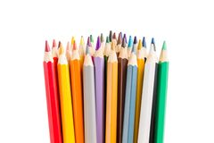 Grupp av färgrika blyertspennor som isoleras på vit bakgrund Royaltyfria Bilder