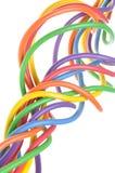 Grupp av färgrika elektriska trådar Arkivfoto