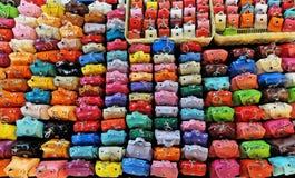 Grupp av färgrika små läderpåsar Fotografering för Bildbyråer
