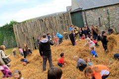 Grupp av föräldrar och barn som spelar i höbuntar, Bunratty slott, Irland, 2014 Royaltyfri Bild