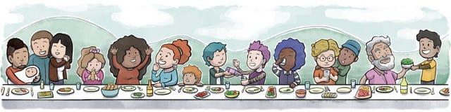 Grupp av familj och vänner som äter på en stor äta middag tabelldagbakgrund Arkivbild