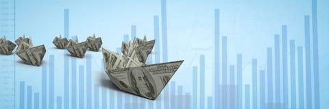 Grupp av fartyg för pengar 3d på graf Arkivfoton