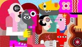 Grupp av fem konstiga personer och en smutsig hund stock illustrationer